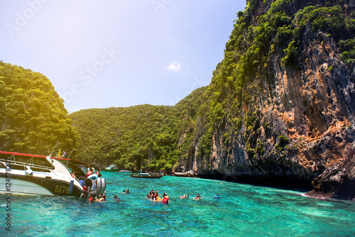 Travel vacation background - Tropical island with resorts - Phi-Phi island, Krabi Province, Thailand Canvas Print