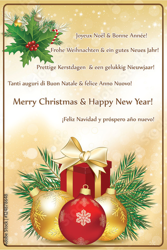 Christmas Wishes in many languages. Greeting card 2017 ...