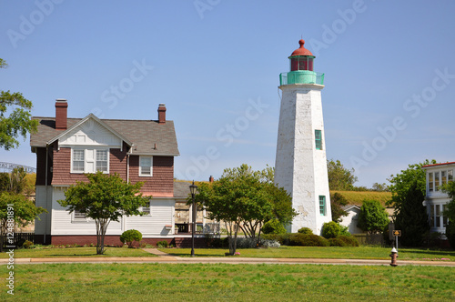 Old Point Comfort Lighthouse in Fort Monroe, Chesapeake Bay, Virginia, USA