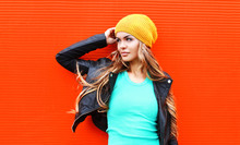 Fashion Pretty Young Blonde Woman Wearing Jacket Hat Looking In