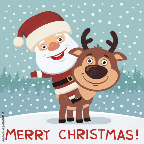 Merry Christmas Funny Images.Merry Christmas Funny Santa Claus Riding On Reindeer Rudolf