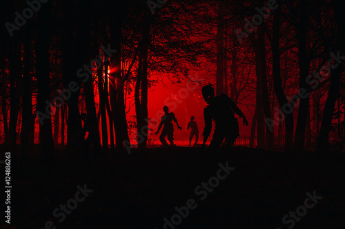 bloodthirsty zombies attacking Canvas Print