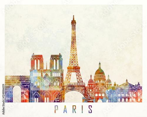 Fotografía  Paris landmarks watercolor poster