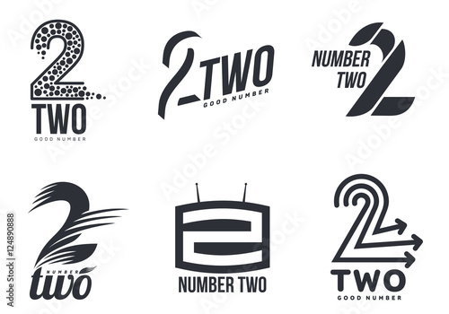 Set of black and white number three logo templates, vector illustrations isolated on white background. Black and white graphic number three logo templates - technical, abstract, dynamic