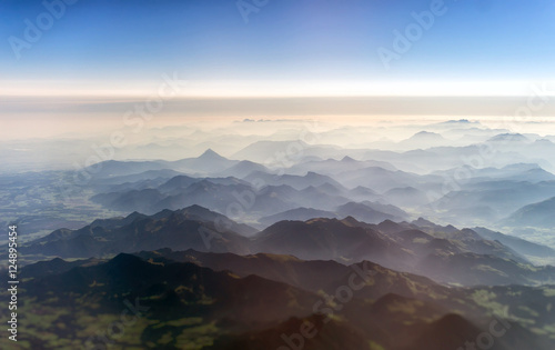 Aerial view of the mountains in the clouds.