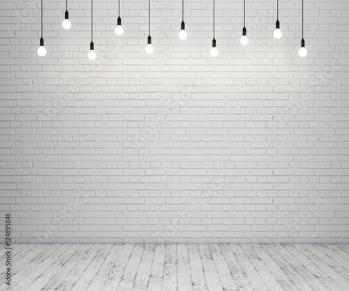 Foto op Plexiglas Wand Painted brick wall and wooden floor with glowing light bulbs. 3D rendering