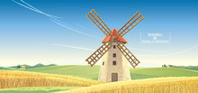 Rural Landscape With Windmill,...