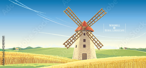 Cuadros en Lienzo Rural landscape with windmill, vector illustration.