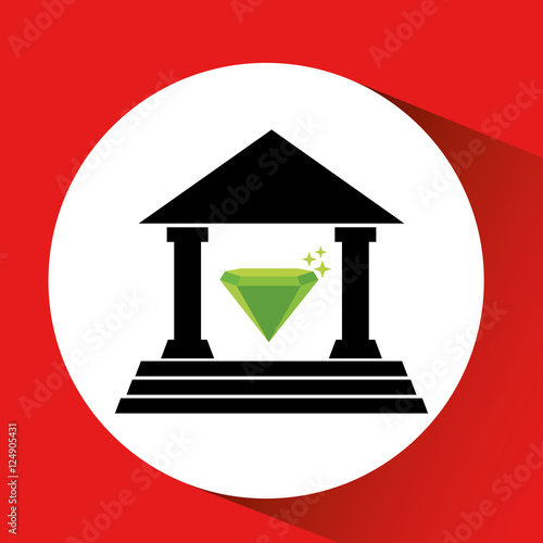 Photo  silhouette bank building diamond luxury orange background design vector illustra