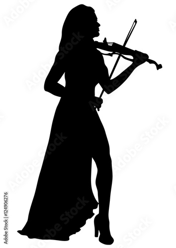 Fotobehang Art Studio Woman with a violin in his hand on white background