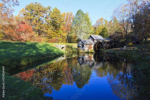 Aluminium Prints Mills Historic Mabry Mill on the Blue Ridge Parkway in Meadows of Dan, Virginia in the fall