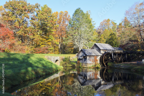 Photo  Historic Mabry Mill on the Blue Ridge Parkway in Meadows of Dan, Virginia in the