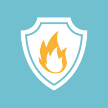 Fire Flame Icon In Round Shape, Vector Illustration