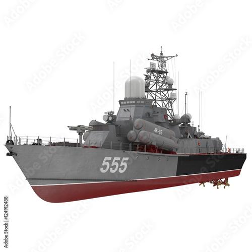 Plakat Missile Corvette z sowieckiej marynarki wojennej Nanuchka Project 1234 na białym. 3D ilustracji