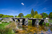 The Ancient Clapper Bridge At Postbridges  Devon,England