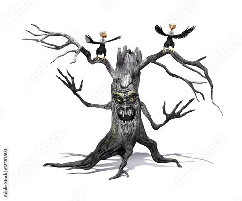 Fotografie, Tablou  Creepy Tree with Angry Vultures