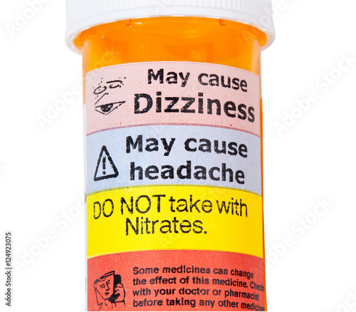Photo Warning signs on bottle of rx drugs