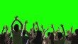 Crowd of fans dancing on green screen. Concert, jumping, Dancing. Slow motion. Shot on RED EPIC Cinema Camera.