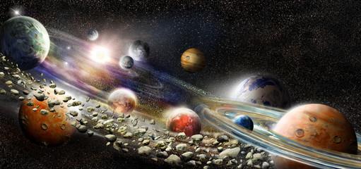 Panel Szklany Alien solar system