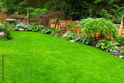 Aluminium Prints Garden Home Garden. A beautifully arranged and trimmed home garden.