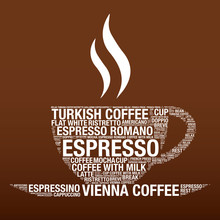 Coffee Cup With Word Cloud Vector Illustration