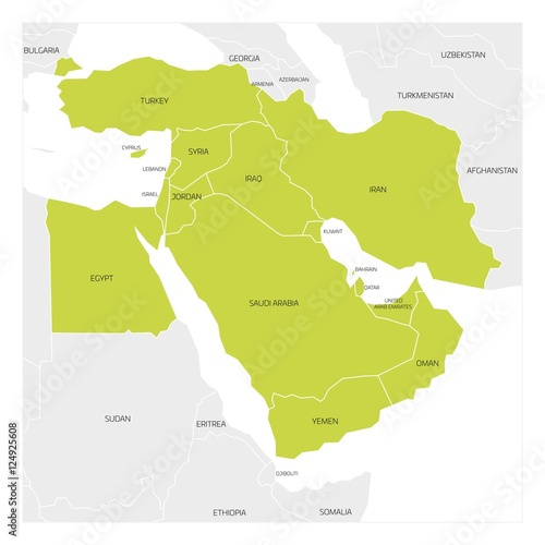 Map of middle east or near east transcontinental region with green map of middle east or near east transcontinental region with green highlighted western asia countries gumiabroncs Image collections