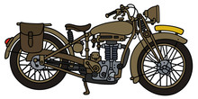 Hand Drawing Of A Vintage Sand Military Motorcycle