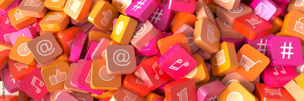 Fototapeta Social media infinite icons