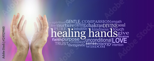 Photo  Healing Hands Word Cloud - female hands reaching up with bright white shaft of l