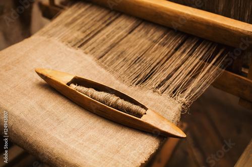 Fotografie, Obraz  Details handloom flax yarn. Flax fiber