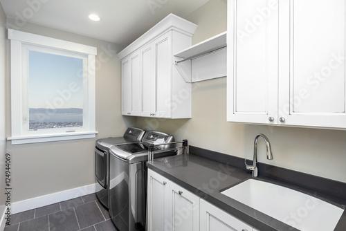 Fotografie, Obraz  Amazing modern laundry room with modern appliances