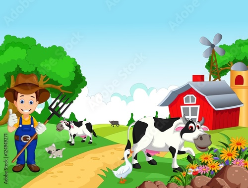Fotobehang Honden Farm background with farmer and animals