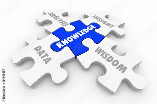 Fotografie, Obraz  Knowledge Puzzle Pieces Data Analysis Insight Wisdom 3d Illustra