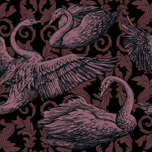 Vintage Antique Background With Swans And Victorian Ornaments