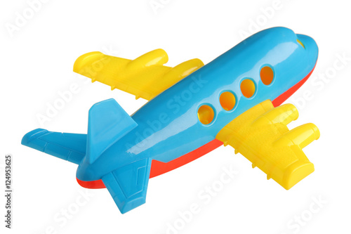 plastic toy plane isolated on white background Fototapeta