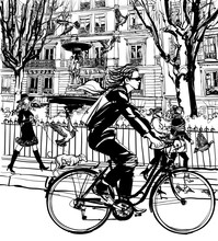 Riding Bicycle In Paris
