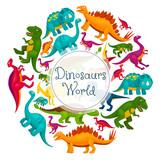 Fototapeta Dinusie - Dinosaurs world vector cartoon poster