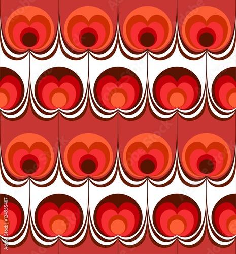 Obraz na plátně Nahtlose Retro Tropfen Kreise Blume Apfel Hintergrundmuster rot