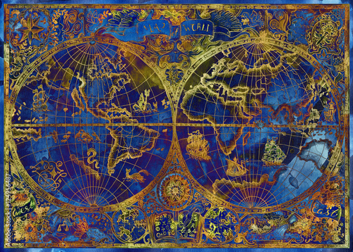 Vintage illustration with blue world atlas map on textured background - 124956487