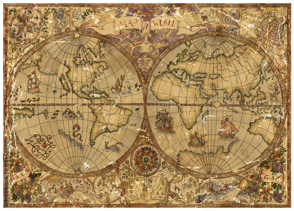 Fototapety, obrazy: Vintage illustration with world atlas map on old textured parchment