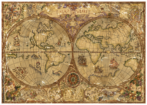 Vintage illustration with world atlas map on old textured parchment vintage illustration with world atlas map on old textured parchment gumiabroncs Image collections