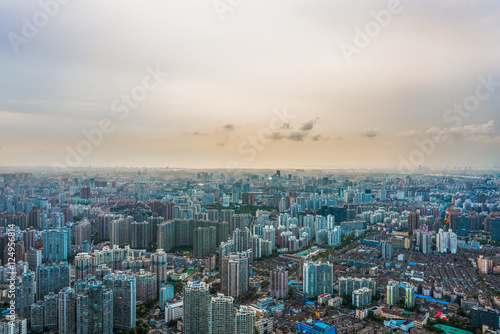 Foto op Plexiglas Blauw aerial view of cityscape in China.