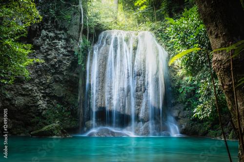 Photo Stands Waterfalls Erawan waterfall, the beautiful waterfall in deep forest at Erawan National Park - A beautiful waterfall on the River Kwai. Kanchanaburi, Thailand