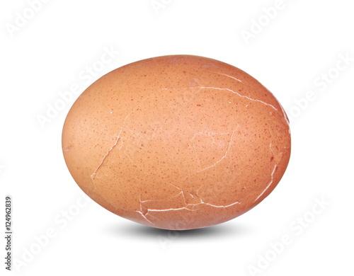 Aluminium Prints Grocery Cracked egg isolated on white