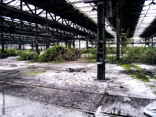 Papiers peints Les vieux bâtiments abandonnés Old abandoned train factory in Germany