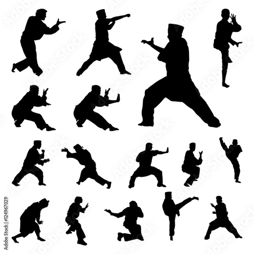 Pencak Silat Indonesian Traditional Martial Art Silhouette Set Wall mural