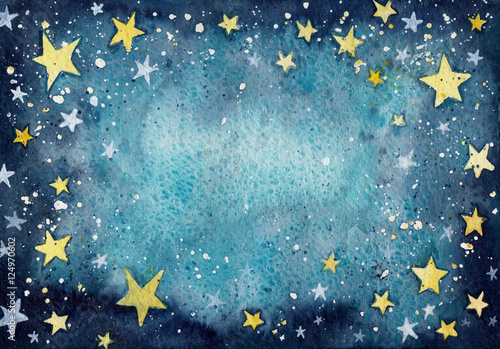 Watercolor Blue Texture With Yellow And White Little Stars