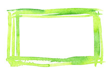 Bright Green Frame Painted In Watercolor On Clean White Background
