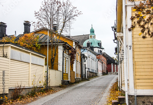 Fotografie, Obraz  Narrow street with colourful houses in old town, Porvoo Finland