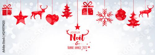 Fototapeta Carte de vœux avec décorations suspendues sur bokeh obraz